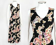 VTG BETSEY JOHNSON 40s INSPIRED  BLACK FLORAL PRINT SLEEVELESS LONG  MAXI DRESS