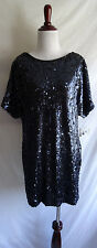 NWT Aidan Mattox 4 Navy Blue Shimmering Sequin Split Sleeve Cocktail Party Dress