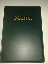 A5 MENU COVER/FOLDER IN GREEN LEATHER LOOK PVC with pockets on page 2 + 3 ONLY!