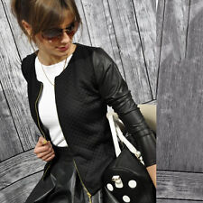 Womens Slim Leather Sleeve Coat Blazer Jacket Casual Suit Autumn Winter Outwear