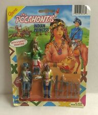 "2x Pocahontas Toy Figure  With Captain John Smith And Chief 3"" Figures Carded"