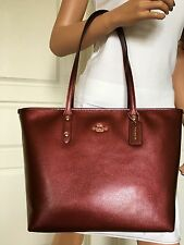 NWT COACH BURGUNDY METALLIC COLORED LEATHER SHOULDER TOTE CARRYALL BAG PURSE