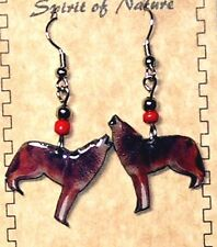 "Howling Wolf Earrings Enameled 2.25"" Lightweight New FREE SHIPPING #W01"