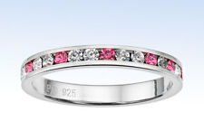 Traditions STERLING SILVER Channel Set PINK Swarovski Crystal Eternity RING - 10