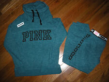 Victoria's Secret PINK Green Marled Cowl-neck Hoodie/Skinny Pant Set size XS/S