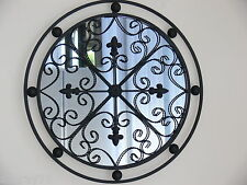 PROVINCIAL FRENCH round MIRROR antique brown 60cm  INDOOR OUTDOOR  NEW
