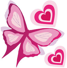 Pink Butterfly & Hearts Wall Sticker Decal Remove & Reuse Nursey Home Decor