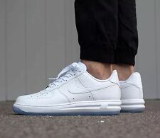"NIKE LUNAR FORCE 1' 1/4 Zapatillas Zapatos Casuales-UK 8 (EUR 42.5) ""Triple Blanco"""
