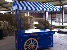 BLUE HANDCART VICTORIAN STYLE HANDPAINTED WOODEN MARKET STALL DISPLAY