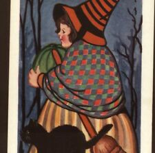 SCARCE.! CHILD WITCH,GREEN PUMPKIN,BLACK CAT,ART DECO,HALLOWEEN WHITNEY POSTCARD