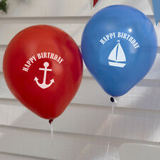 Ahoy There Nautical Happy Birthday Balloons Pack of 8 Red & Blue