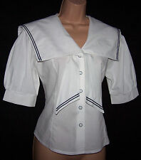Laura Ashley Vintage Edwardian Sailor Nautical Yachting Seaside Blouse 14 UK