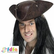 BROWN BROKEN LEATHER LOOK PIRATE TRICORN CARIBBEAN HAT mens ladies fancy dress
