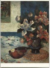 Alte Kunstpostkarte - Paul Gauguin - Stilleben mit Mandoline und Blumen