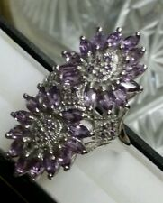 NEW*HUGE 14K WHITE GOLD STERLING SILVER GENUINE AMETHYST COCKTAIL EDWARDIAN RING