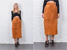 Vintage 70s 80s Tan Brown Suede Leather Skirt High Waist Midi Pencil Small S