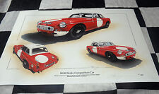 MG MGB WORKS COMPETITION CAR PADDY HOPKIRK LE MANS 1965 NEW PAINTING PRINT ART +