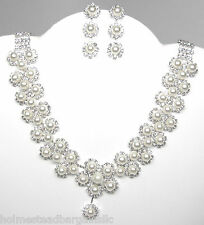 Vintage Style Pearl Crystal Bridal Wedding Prom Party Necklace Earrings Set  NEW