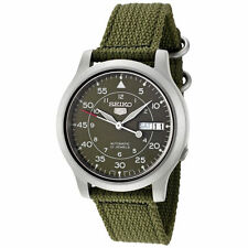 Seiko SNK805 Men's Canvas Band Green Dial Automatic Day Date Watch