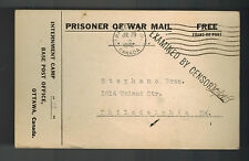 1942 Canada POW Prisoner of War Camp 21 Postcard Cover to USA Cigarette Order