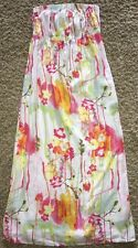 OLD Navy WOMEN'S Linen BLEND Large WATERCOLOR Strapless MAXI Dress POCKETS EEUC!