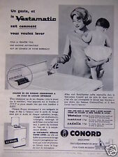 PUBLICITÉ 1958 CONORD VESTAMATIC MACHINE A LAVER AUTOMATIQUE - ADVERTISING