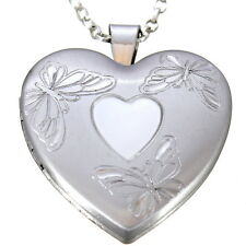 """STERLING SILVER BUTTERFLY FAMILY HEART SHAPED LOCKET PENDANT WITH 18"""" CHAIN"""