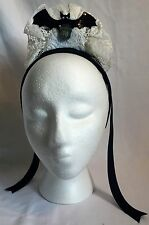 NEW Disney Parks Haunted Mansion Ghost Hostess Lace Sequin Bat Headband - Host