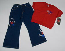 NWT G BABY GIRLS  L 5 OUTFIT TOP JEANS PERFECT 1 SHIMMERY STARS SET PATRIOTIC