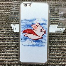 for iPhone 6 / 6S - SUPER FLYING PIG White Hard TPU Rubber Gummy Skin Case Cover
