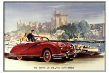 Austin Atlantic A90 CONVERTIBLE CAR poster 1948-51 Sporty RED retro 24X36