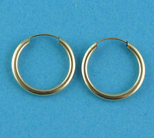 New Ladies 9ct Yellow Gold Sleeper Hoop Earrings 20mm x 1.5mm Hallmarked (e h)