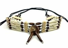 Handmade Native American Style Tribal Buffalo Bone Hairpipe Choker Necklace