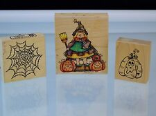 Halloween Witch Pumpkin Rubber Stamps Pressum Stampassions CC Design Lot of 3