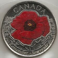 "2015 - ""COLOURED RED POPPY""  CANADA/CANADIAN QUARTER DOLLAR .25¢ COIN BU"