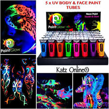 Katz 5 x UV Glow Neon Face & Body Paint 5x 10ml SET Fluorescent Halloween Party