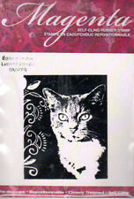 New  MAGENTA RUBBER STAMP Romeo cat month 9/09 UM cling small version