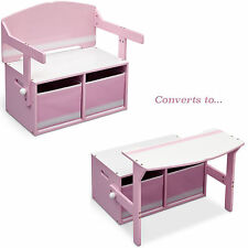 NEW DELTA CHILDREN PINK / WHITE CONVERTIBLE BENCH / DESK / TOY STORAGE BOX