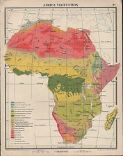 1939 MAP ~ AFRICA VEGETATION CONGO BASIN SAHARA LIBYAN DESERT FOREST