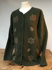 VINTAGE' EQUORIAN' OLIVE GREEN BOLIED WOOL EMBROIDERED CARDIGAN  M 14/16