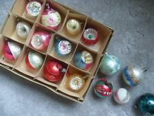 Vintage 9 INDENT 8 Ball MERCURY GLASS ALL POLAND CHRISTMAS ornaments lot of 17