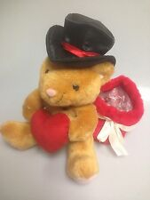 Cute Plush Animal W/ Hat Holding A Heart & Gift Bag