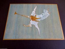 Vintage Unused Jacqueline Kennedy Xmas Greeting Card Angel Playing Music, Rare