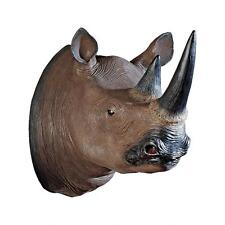 "20"" Black Rhinoceros Rhino Wall Trophy Display Statue Sculpture Reproduction"