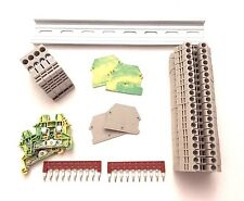 DIN Rail Terminal Block Kit Dinkle 20 DK4N 10 AWG Gauge 30A 600V Ground Jumper