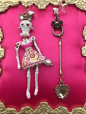 Betsey Johnson White Lace Sugar Skeleton Skulls Pink Dress Mismatch Earrings