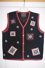 145 WOOLRICH Women's Christmas Winter Sweater Vest Wool Black Snowflakes LARGE