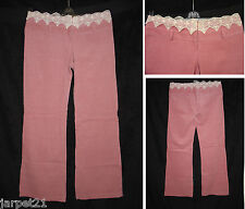 "Ladies Lace Top Cord Bootcut Trousers Size 12 L31.5"" Pink Corduroy Womens New"