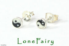 Sterling Silver Yin Yang Novelty Stud Earrings Quality Round Logo 4mm