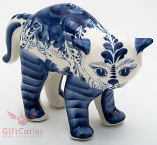 Angry Cat Kitty puss Collectible Gzhel style Porcelain Figurine hand-painted